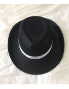 20s Mens Gangster Black Fedora Hat with white band Fancy Dress