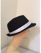 20s Mens Black Gangster Fedora Hat