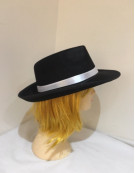 20s Mens Gangster Black Fedora Hat with white band