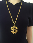 Gold Silver Dollar Sign Necklace Gangster