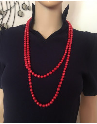 Red Elegant Faux Pearl Long Necklace