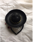 Black Mini Mexican Hat on Headband